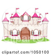 Royalty Free RF Clip Art Illustration Of A White And Pink Castle Facade