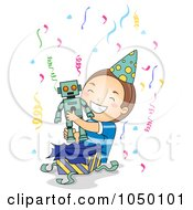 Royalty Free RF Clip Art Illustration Of A Birthday Boy Opening A Robot