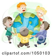 Royalty Free RF Clip Art Illustration Of Diverse Kids Holding Hands And Standing Around Earth