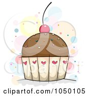 Royalty Free RF Clip Art Illustration Of A Chocolate Cupcake With Sprinkles And A Cherry