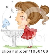 Royalty Free RF Clip Art Illustration Of A Blue Bird Serenading A Girl On A Bird Bath