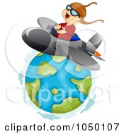 Royalty Free RF Clip Art Illustration Of A Boy Flying A Jet Around Earth by BNP Design Studio