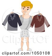 Royalty Free RF Clip Art Illustration Of A Man Deciding On What To Wear