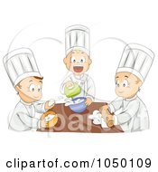 Royalty Free RF Clip Art Illustration Of A Group Of Kids Baking In Home Economics Class by BNP Design Studio