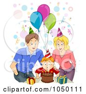 Royalty Free RF Clip Art Illustration Of A Mother And Father Celebrating Their Sons Birthday