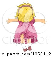 Royalty Free RF Clip Art Illustration Of A Girl Standing In The Wind