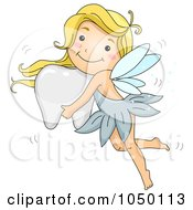 Royalty Free RF Clip Art Illustration Of A Tooth Fairy Girl Flying With A Tooth