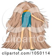 Royalty Free RF Clip Art Illustration Of A Man Searching For A Needle In A Haystack
