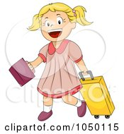 Royalty Free RF Clip Art Illustration Of A Happy Girl Going To School
