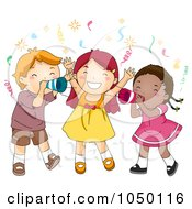 Royalty Free RF Clip Art Illustration Of Children Shouting Happy New Year At A Party