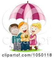 Royalty Free RF Clip Art Illustration Of Diverse Kids Under An Umbrella