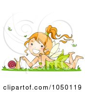 Royalty Free RF Clip Art Illustration Of A Fairy Girl Playing With A Snail by BNP Design Studio