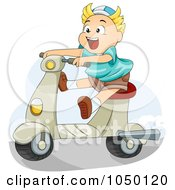 Royalty Free RF Clip Art Illustration Of A Boy Riding A Scooter