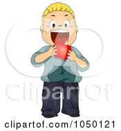 Royalty Free RF Clip Art Illustration Of A Boy Eating A Red Apple