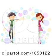 Stick Kids Standing By A Blank Board Over Colorful Dots