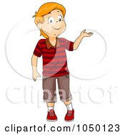 Royalty Free RF Clip Art Illustration Of A Red Haired Boy Presenting