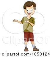 Royalty Free RF Clip Art Illustration Of A Brunette Boy Presenting