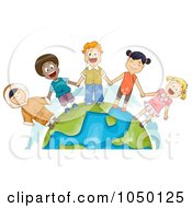 Royalty Free RF Clip Art Illustration Of Diverse Children Holding Hands And Standing On Earth