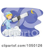 Royalty Free RF Clip Art Illustration Of A Boy Star Gazing On A Cloud