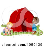 Royalty Free RF Clip Art Illustration Of Boys Pitching A Tent