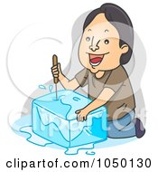 Royalty Free RF Clip Art Illustration Of A Man Picking Ice