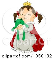 Royalty Free RF Clip Art Illustration Of A Princess Girl Hugging A Stuffed Frog