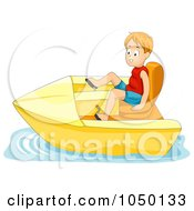Royalty Free RF Clip Art Illustration Of A Boy In A Pedal Boat by BNP Design Studio