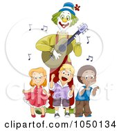 Royalty Free RF Clip Art Illustration Of Kids Dancing By A Guitarist Clown