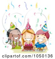Royalty Free RF Clip Art Illustration Of Diverse Kids Singing Happy Birthday At A Party