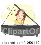 Royalty Free RF Clip Art Illustration Of A Female Pianist Playing