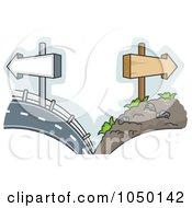 Royalty Free RF Clip Art Illustration Of A Split Scene Of Smooth And Rough Roads