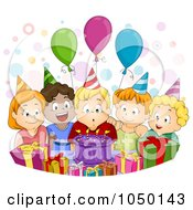 Royalty Free RF Clip Art Illustration Of A Birthday Boy Blowing Out His Candles At His Party