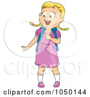 Royalty Free RF Clip Art Illustration Of A School Girl Pointing To The Side