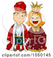Royalty Free RF Clip Art Illustration Of A Boy And Girl Dressed As King And Queen