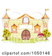 Royalty Free RF Clip Art Illustration Of A Yellow Castle Facade