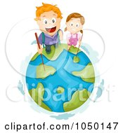 Royalty Free RF Clip Art Illustration Of Hiking Kids On Top Of Earth