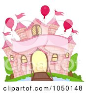 Royalty Free RF Clip Art Illustration Of A Pink Castle Facade With A Moat Banner And Balloons by BNP Design Studio