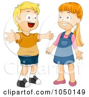 Royalty Free RF Clip Art Illustration Of A Boy Greeting A Girl With A Hug