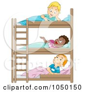 Royalty Free RF Clip Art Illustration Of Camp Boys Talking In Their Bunk Beds by BNP Design Studio