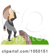 Royalty Free RF Clip Art Illustration Of A Man Viewing Greener Pasture On The Other Side Of A Wall