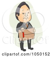 Royalty Free RF Clip Art Illustration Of A Businessman Carrying An Envelope With Red Tape