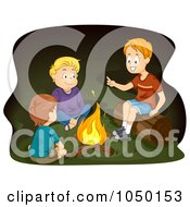 Royalty Free RF Clip Art Illustration Of Boys Telling Stories Around A Campfire