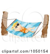 Royalty Free RF Clip Art Illustration Of A Summer Girl Relaxing In A Hammock by BNP Design Studio