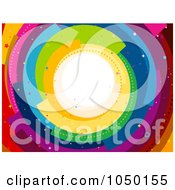 Royalty Free RF Clip Art Illustration Of A Confetti Spiral Rainbow Background