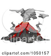 Royalty Free RF Clip Art Illustration Of An Erupting Volcano With An Ash Cloud And Lava
