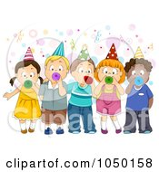 Royalty Free RF Clip Art Illustration Of A Group Of Kids Blowing Party Horns by BNP Design Studio