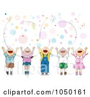 Royalty Free RF Clip Art Illustration Of Happy Party Kids Celebrating With Their Hands Up