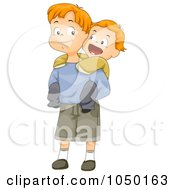 Royalty Free RF Clip Art Illustration Of A Boy Jumping On His Big Brothers Back