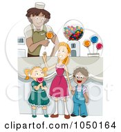 Royalty Free RF Clip Art Illustration Of Diverse Children In A Candy Shop