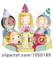 Royalty Free RF Clip Art Illustration Of Children Eating At A Birthday Party by BNP Design Studio